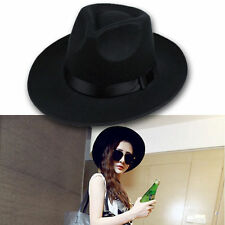 Cool Vintage Women Ribbon Wide Brim Faux Wool Felt Hat Floppy Bowler Fedora Cap