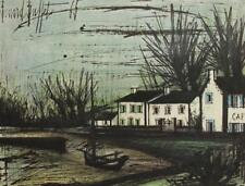 Vintage Bernard Buffet White Houses Brittany France Lithograph Boat Cafe #S233