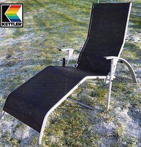 KETTLER HKS ALU BÄDERLIEGE SAUNALIEGE TAMPA silber schwarz 01717-040 FREI HAUS