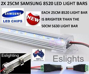 2X 25CM 12V 8520 CLEAR LED STRIP LIGHT BAR WORK BENCH BOAT 4WD UTE TOOL BOX