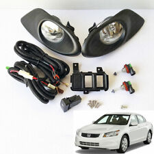 For 2008-2010 Honda Accord Sedan Clear Fog Light Kit with Switch Bulbs Bezel Set