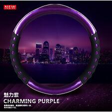 38cm Purple Steering Wheel Cover Non-slip Handle Steering Wheel Cases Leather