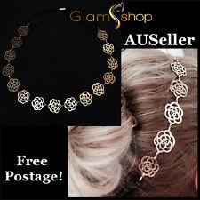 Women's Gold hair jewellery cut out rose design head band flower chain headpiece