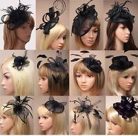 Ascot / COURSES / Funérailles Noir Fleur / CHAPEAU Pince à cheveux bibi /PEIGNE/
