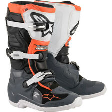 NEW Alpinestars Tech 7s YOUTH MX Motocross Boots - Black/Grey/White/Orange Fluo