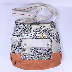 Fossil Beige Canvas Crossbody Handbag Purse Messenger Vintage mandala Floral
