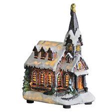 Christmas Church Light Up Room Decoration Snow Religious Tower Resin 22cm