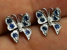 E098 - Genuine 9ct White Gold Natural Sapphire & Diamond Butterfly Stud Earrings