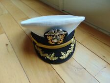 Original U.S. Navy Cold War Era Bancroft Commander White Peaked Visor Cap 7-3/8