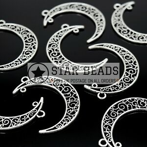 20 X ALLOY FILIGREE SILVER PLATED CONNECTOR PENDANTS - MOON 50X34MM