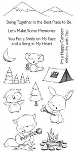 HAPPY CAMPER CAMP & Sentiments CLEAR Stamp Set by My Favorite Things SY-21 New