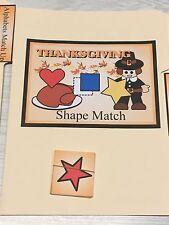 Thanksgiving -  File Folder Game  - Activity Set - Shape Match