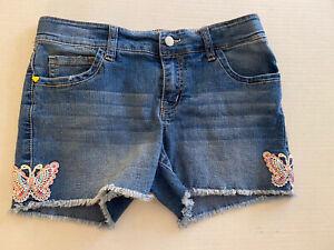 l.e.i. Chelsea Low Rise Girl's Jean Shorts Butterfly Appliqué Size 14