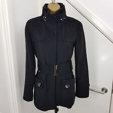 Zara Coat Waistcoat Jacket Zipped Belted Pockets Wool Black Size S UK 10