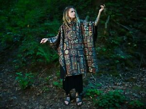 HOODED PONCHO Tribal hoodie Eco Fabric Tribal poncho Ethnic Poncho FREE POST UK