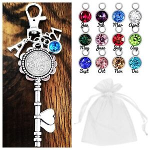 16th 18th 21st BIRTHDAY GIFT,LUCKY SIXPENCE KEY 30th 40th 50th 60th BIRTHSTONE