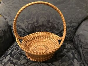 "Handwoven SWEETGRASS Handled BASKET Charleston Lowcountry 9"" Diameter 12"" Tall"