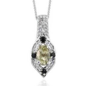 "Olive Apatite, Gemstone Pendant Necklace in Platinum Over 925 SS 20"", 0.65 ctw."