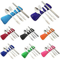 4 Pcs/Set Stainless Steel Fork Spoon Chopsticks Travel Camping Cutlery Tools Tab