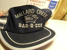 VTG 3 Stripe MALLARD CREEK 66th BARB-B-QUE BLUE Trucker Hat Made in USA Cap