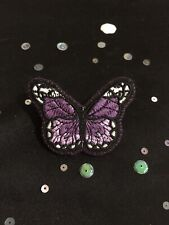 Handmade Purple Butterfly Brooch. Vintage Style Butterfly Pin Badge.
