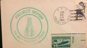 EARLY SPACE Cover: Gemini 2 Shipboard Recovery Cover -USS HOLDER (DD819)Jan 1965
