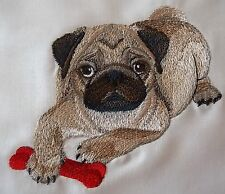 "Embroidered Quilt Block Panel ""Pug Puppy Dog"" Cream Linen Fabric"