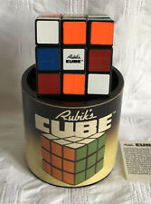 1981 Original Rubik's Cube en Caja Redonda W prospecto Cilindro Tapa Vintage Juguete Ideal