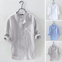 Mens Casual Linen T Shirts 3/4 Sleeve Henley Shirts Blouse Summer Loose Tee Tops
