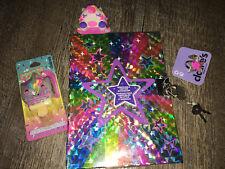 Claire's Unicorn Rainbow Star Diary Lipgloss Keychain Ring Lot