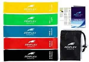 Zenflex Wide-Band Exercise Resistance Loop Bands - Set of 5 with Carry Bag