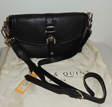 NEW Bailey & Quinn BLACK LEATHER CROSS-BODY BAG w/Gold Accents - RRP £79