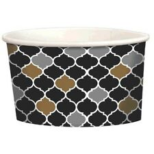 BLACK, SILVER & GOLD SCALLOPS ICE CREAM CUPS (12)~ Adult Birthday Party Supplies