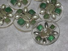 CHANEL 6 METAL CC LOGO FRONT  GREEN GLASS PEARL BUTTON  28 MM /UNDER 1 1/4'' NEW