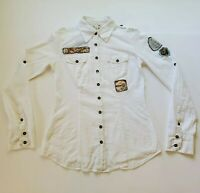 Da-Nang Surplus Womens XS Patch Button Lightweight Roll Tab Sheer Camp Shirt