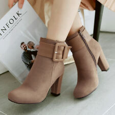 Women's Winter Ankle Short Boots Round Toe Chunky Heel Booties US 6 Apricot