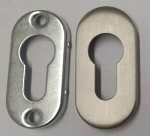 Ovalrosette Edelstahl PZ zum Aufschrauben Profilzylinder Rosette oval