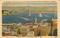 Linen Postcard CA J193 Waterfront Ferry Building San Francisco Bay Bridge 1947