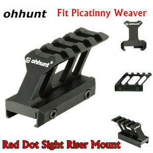ohhunt 1pc Red Dot Sight Riser Mount Base w/ 20mm Picatinny Weaver Rail 4 Slots