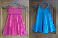 Girls New Pink Blue Summer A-line Sleeveless Lace Sun Dress Age 2 - 7 Years Bnwt