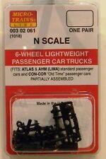 NEW Micro-Trains 00302061 Passenger Trucks Lightweight 6 Wheel 1 Pr
