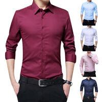 Luxury Mens Dress Shirt Long Sleeve Slim Fit Formal Business Wedding Shirts Tops