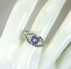0.80 ct Natural Purple Amethyst Solid Sterling Silver Rope Ring- US (8) AU (Q)