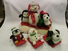 RARE Hallmark Jingle Pals Snow What Fun Sledders Christmas Animated Snowman 4pc