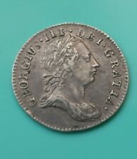 More details for 1762 george iii silver three pence coin early milled (447