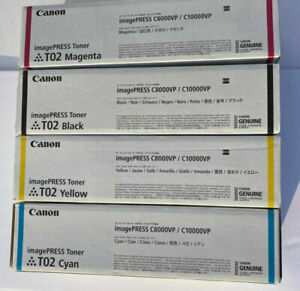 Genuine Canon T02 Toner Cartridges set cmyk  imagePRESS C8000VP C10000VP