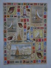 papier découpage technique serviette (thème: voilier, timbre poste) 68X48cm