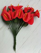 12 ARUM fleurs rouge décoration table boutonnière dragées mariage baptême