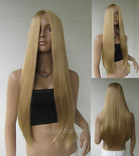 28'' Long Golden Blonde Straight Cosplay Party Wig 24#
