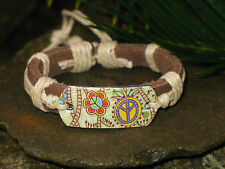 Peace & Flowers Natural Hemp & Genuine Leather Tribal Surf Bracelet
